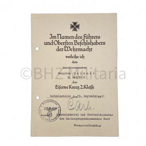 EK2 Document Maschinenmaaten MS Cobra 1941